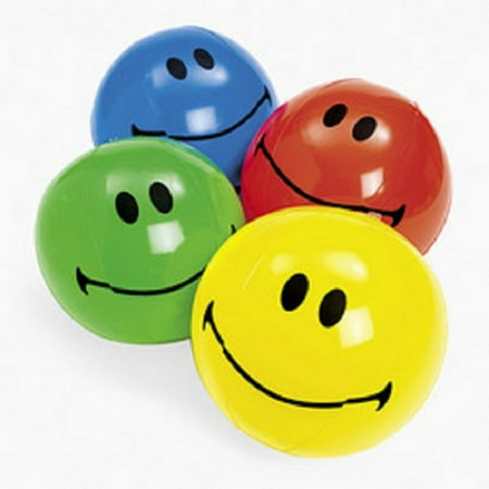 Inflatable Smiley Face Beach Balls (1 dz) Party Favors (Smiley Face Decorations)