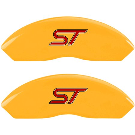 MGP Set of 4 Caliper Covers with Engraved Front and Rear (No bolts/ST), Yellow Powder-Coat Finish and Black Characters