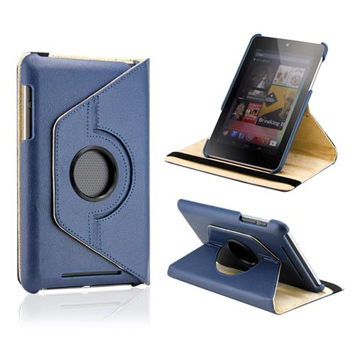 Dark Blue 360 Degree Rotating PU Leather Case Cover Swivel Stand for Google Nexus 7 Asus Tablet