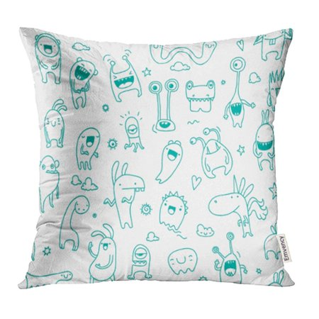 YWOTA Blue Adorable Cute Monster Doodle Pattern Suitable for Coloring Alien Animals Pillow Cases Cushion Cover 20x20 inch](Monster Pillows)