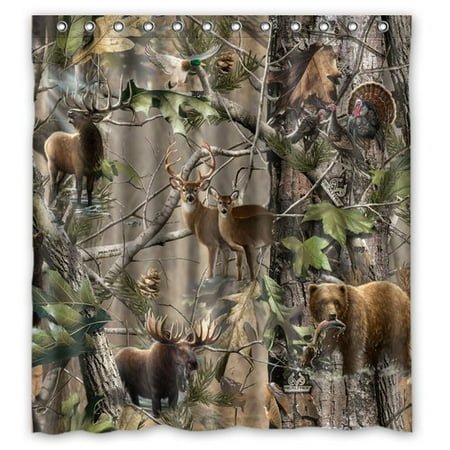 HelloDecor Atnee Bird Bear Deer Elk Realtrees Real Tree Shower Curtain Polyester Fabric Bathroom Decorative Curtain Size 66x72 Inches