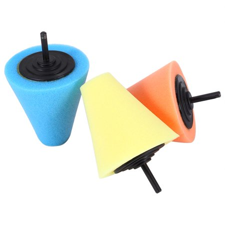 EECOO 1PC Foam Polishing Cone Shaped Buffing Pads for Wheels - Use with Power Drill