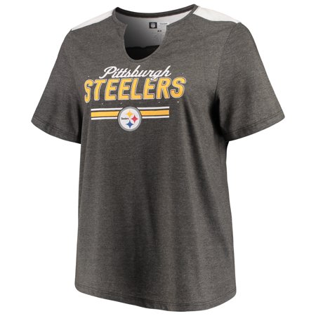 Women's Majestic Heathered Charcoal Pittsburgh Steelers Notch Neck Plus Size T-Shirt