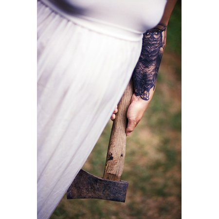 - Canvas Print Axe White Weapon Horror Scary Tattoo White Dress Stretched Canvas 10 x 14