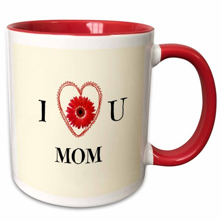 - 3dRose I love u mom. Flower, heart, beige. Saying. - Two Tone Red Mug, 11-ounce