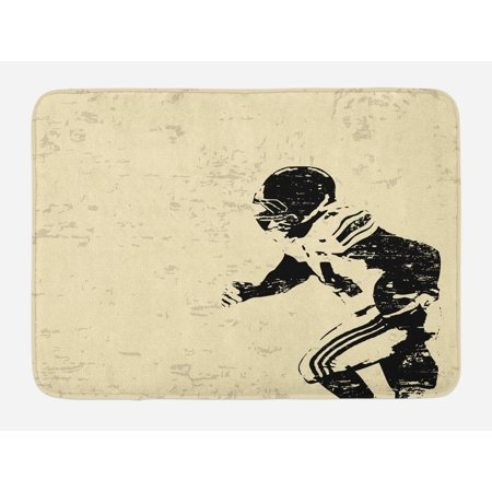 Sports Bath Mat, Rugby Player in Action Running Success in Arena Playground Sport Best Team Picture, Non-Slip Plush Mat Bathroom Kitchen Laundry Room Decor, 29.5 X 17.5 Inches, Beige Black,