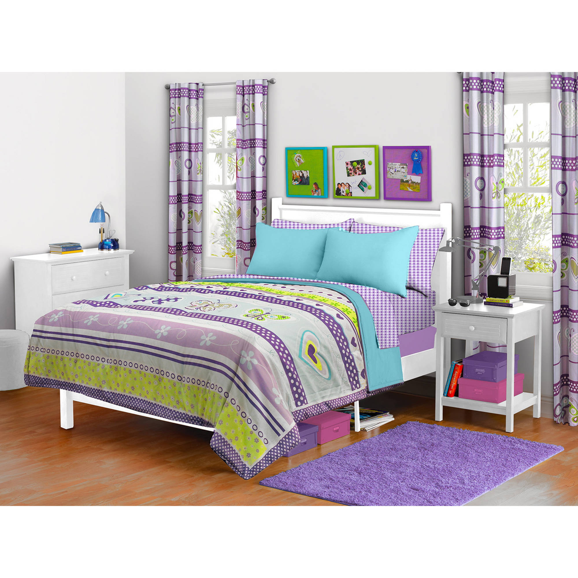Mainstays Kids Lavender Butterfly Comforter, Twin/Full