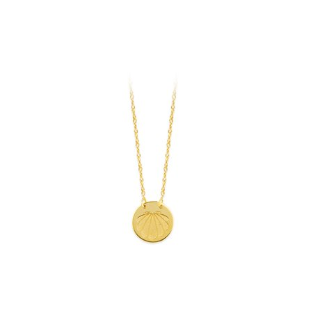 14k Yellow Gold Etched Shell Adjustable Disk Necklace - 18 Inch