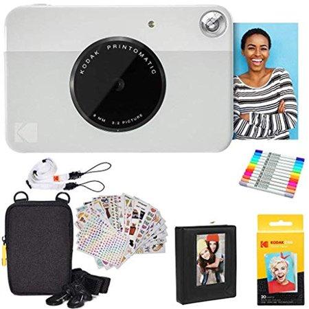 Kodak Printomatic Instant Camera (Grey) Gift Bundle + Zink Paper (20 Sheets) + Deluxe Case + 7 Fun Sticker Sets + Twin Tip Markers + Photo Album + Hanging Frames + Comfortable Neck Strap - image 4 de 4