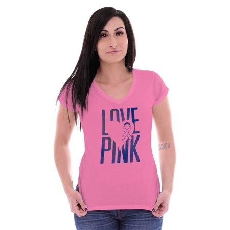 Breast Cancer Awareness Womens V-Neck T-Shirts Tees Tshirt Fighter Love BCA Gift