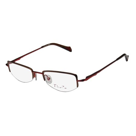 cded7da7bae New Thalia Abrazo Womens Ladies Designer Half-Rim Brown   Red Stainless  Steel Fashionable Frame Demo Lenses 43-18-130 Flexible Hinges  Eyeglasses Eye Glasses