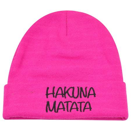 (Disney The Lion King Hakuna Matata Hot Pink Women Ladies Cuffed Beanie Knit Hat)