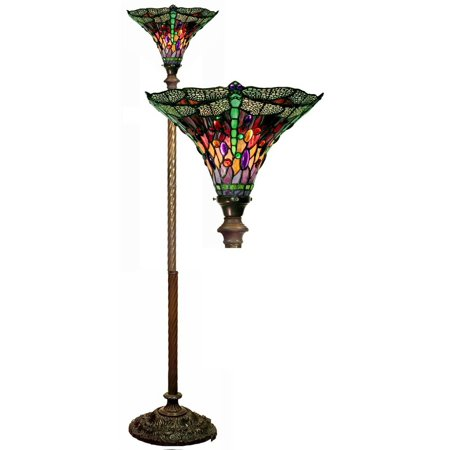 Dragonfly Red & Purple Torchiere Lamp ()