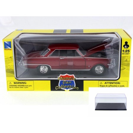 Diecast Car & Display Case Package - 1964 Chevy Nova, Red - New Ray 71823A - 1/25 Scale Diecast Model Toy Car w/Display
