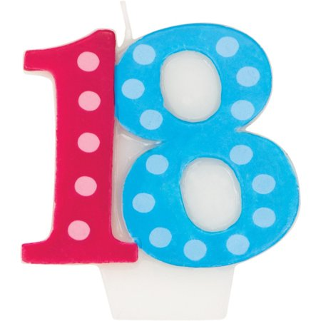 Molded Numeral Candle with Balloon 18th Bright And Bold, Case of 6](Decorating With Crepe Paper And Balloons)