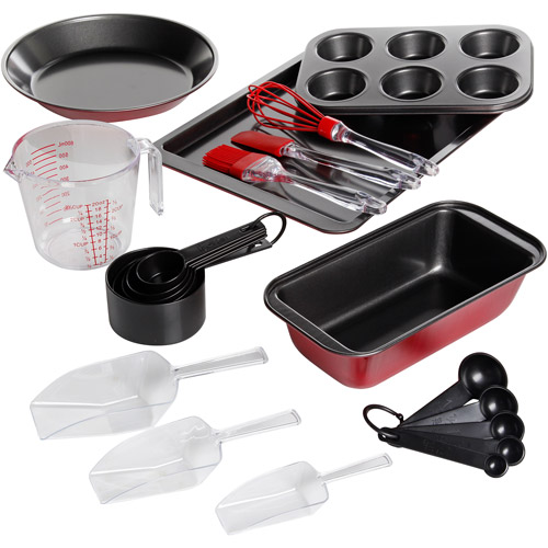 Gibson Home Savvy Kitchen 21-Piece Bakeware Combo Set, Metallic Red