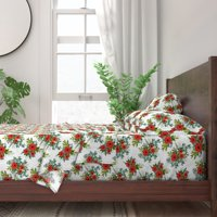 Festive Christmas Floral Holiday Decor 100% Cotton Sateen Sheet Set by Roostery