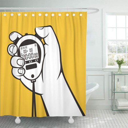 KSADK Timer Stopwatch Hand Digital Zero Chronometer Last Stop Sports Start Shower Curtain 66x72