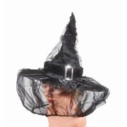 Loftus Black Womens Witch Hat w Veil & Silver Buckle