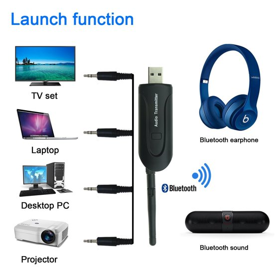 TSV Bluetooth Audio Transmitter for TV, Universal USB Wireless Audio  Transmitter Dongle Connected 3 5mm Audio Devices for Home Stereo System