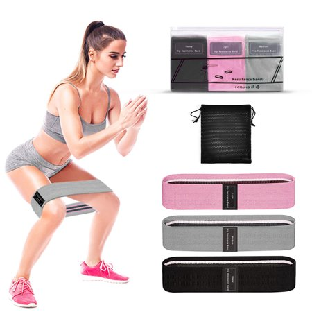 3 PCS Sports Exercise Resistance Loop Bands Set Elastic Booty Band Set for Yoga Home Gym Training - image 4 de 6