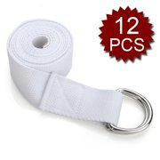 GOGO 6ft Long D-Ring Buckle Yoga Strap / Yoga Belt - 12 Pieces