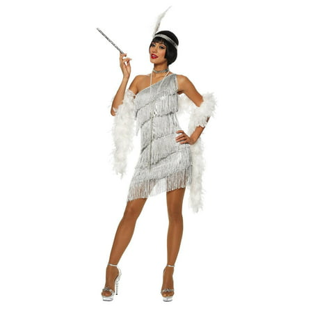 Dazzling Silver Flapper Adult Costume L (Flapper Girl Costumes Adults)