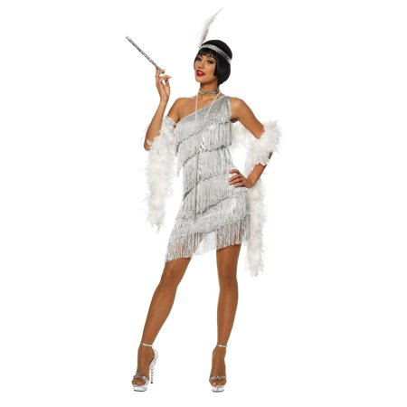 Dazzling Silver Flapper Adult Costume - Flapper Costume For Women