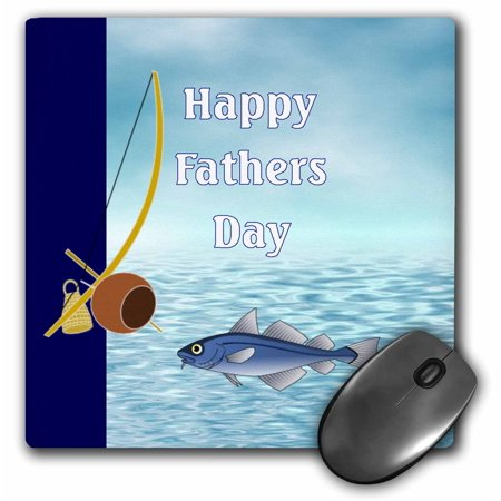 3dRose Print of Happy Fathers Day With Fishing Pole And Water, Mouse Pad, 8 by 8 inches
