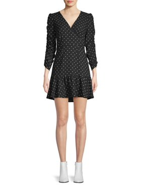 Scoop Ruched Sleeve Ruffle Faux Wrap Mini Dress Dot Print Women's
