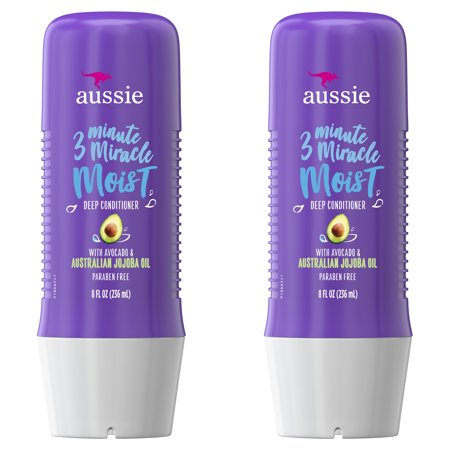 Aussie Miracle Moist with Avocado & Jojoba Oil, Paraben Free 3 Minute Miracle Conditioner, 8.0 fl oz Twin Pack Breakage Miracle Leave