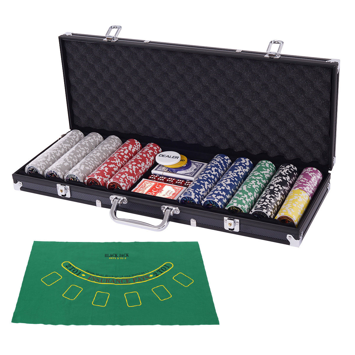 Costway Poker Chip Set 500 Dice Chips Texas Hold'em Cards with Black Aluminum Case