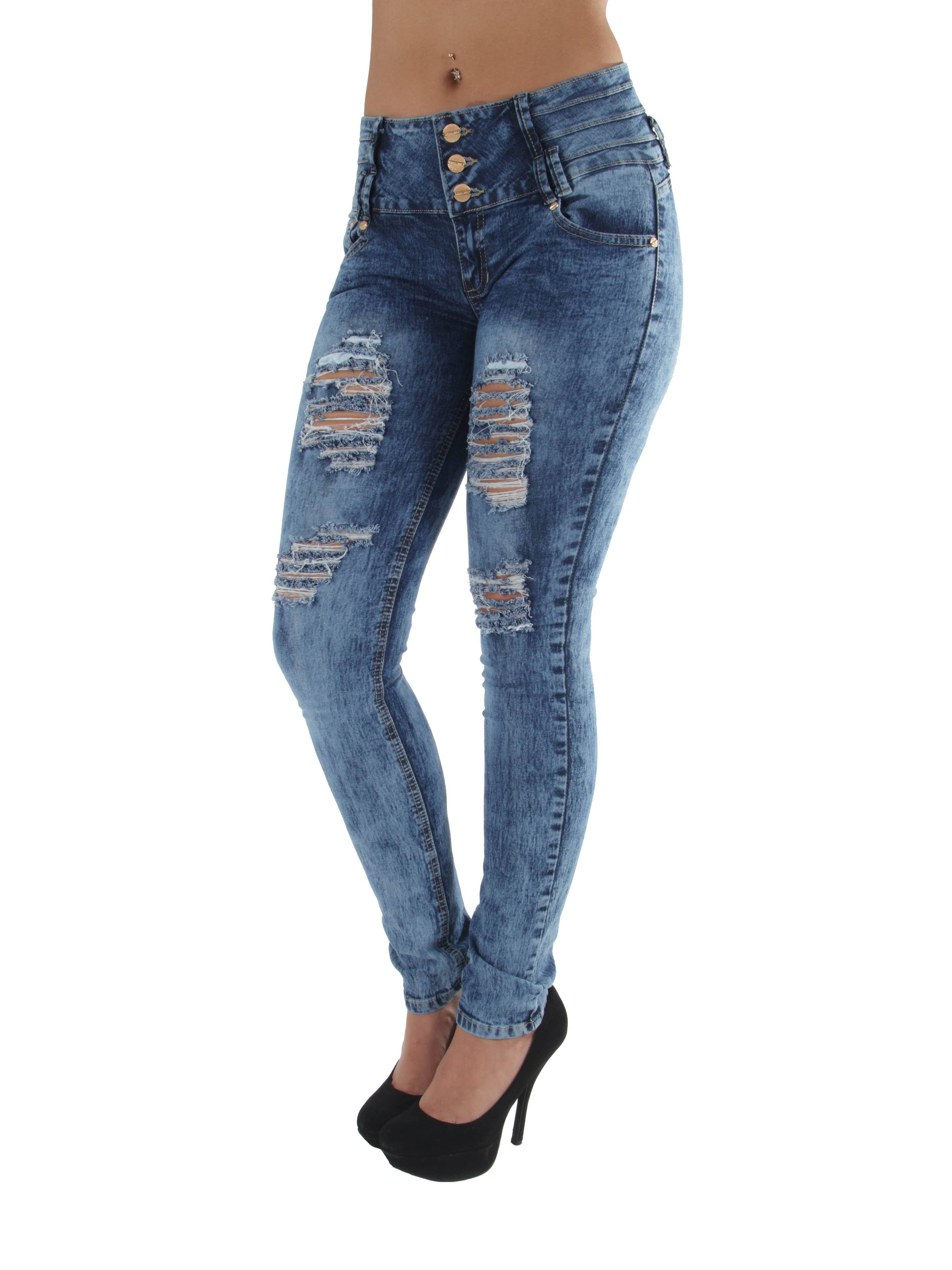 YC1691R - Butt Lifting, Levanta Cola, Ripped, Destroyed, Mid Waist, Skinny Jeans