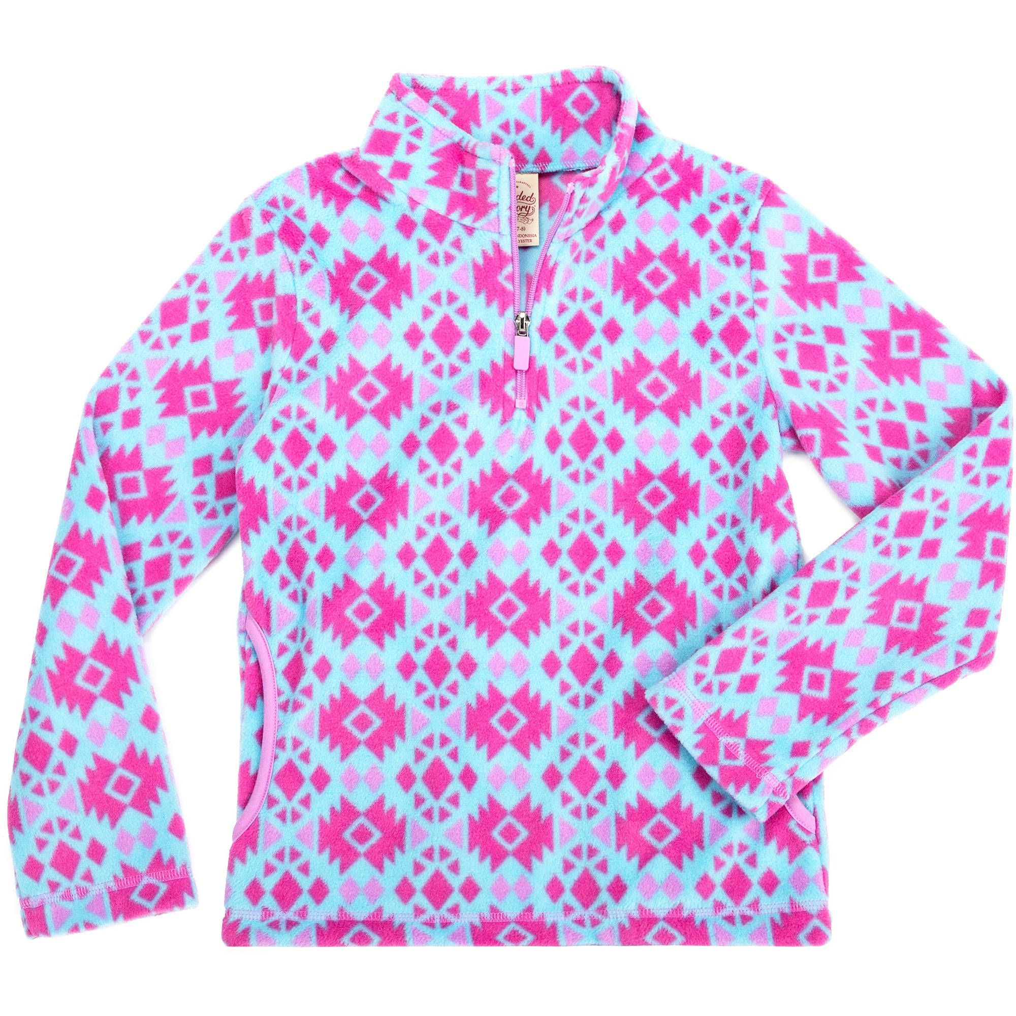 Faded Glory Girls' Micro Fleece 1/4 Zip Front Pullover
