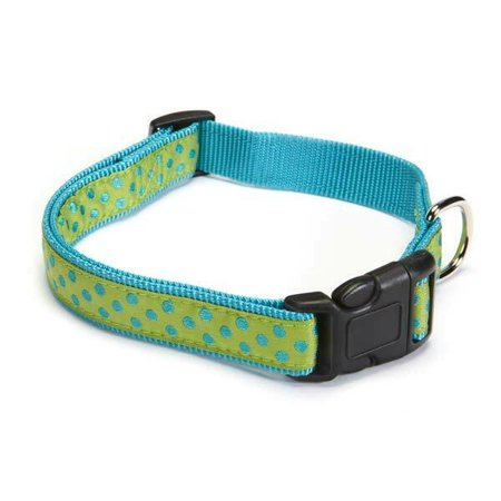 Bright Parrot Green - Polka Dot Dog Collar Classic Bright Fashion Nylon Choose From 3 Colors Pick Size (Parrot Green Medium 14