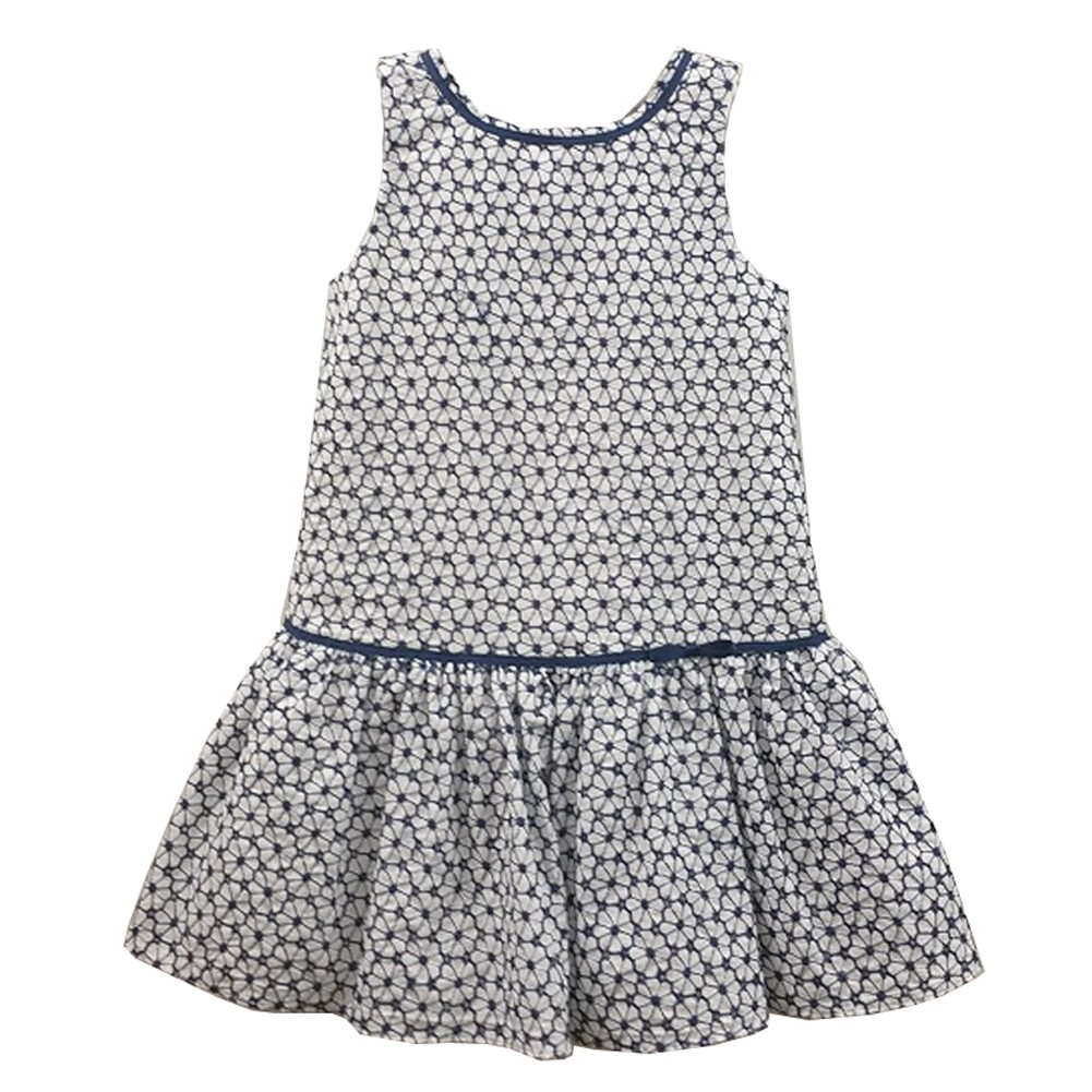 Dorissa Girls White Navy Cotton Eyelet Drop Waist Kelly E...