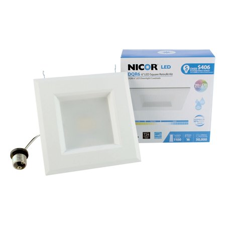 NICOR Lighting 6-Inch Square 4000K LED Recessed Downlight Retrofit Kit, White (Alzak 6 Inch Recessed Lighting)