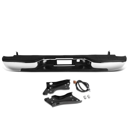 Gmc Sierra 1500 Rear Bumper - For 1999 to 2007 Chevy Silverado GMC Sierra 1500 / 2500 HD / 3500 HD Fleetside Stainless Steel Rear Step Bumper w / Lincense Plate Light 00 01 02 03 04 05 06