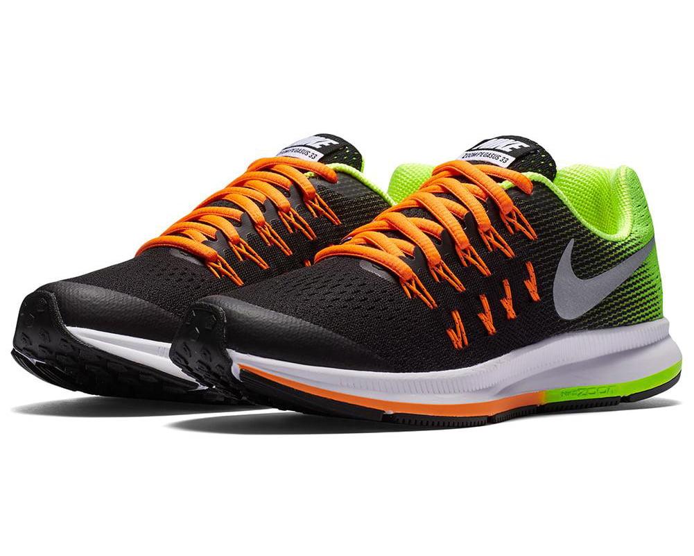13d15e2d1cb6 Nike Boy s Zoom Pegasus 33 (GS) Black Metallic Silver-Volt-Total ...