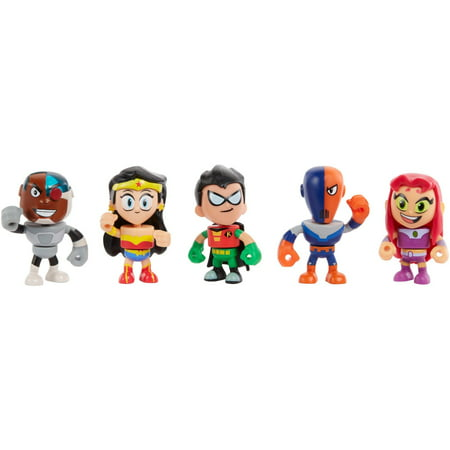 Teen Titans Go! to the Movies Mini Figures Cyborg, Wonder Woman, Robin, Slade, Starfire 5-Pack - Raven Teen Titans Go Legs