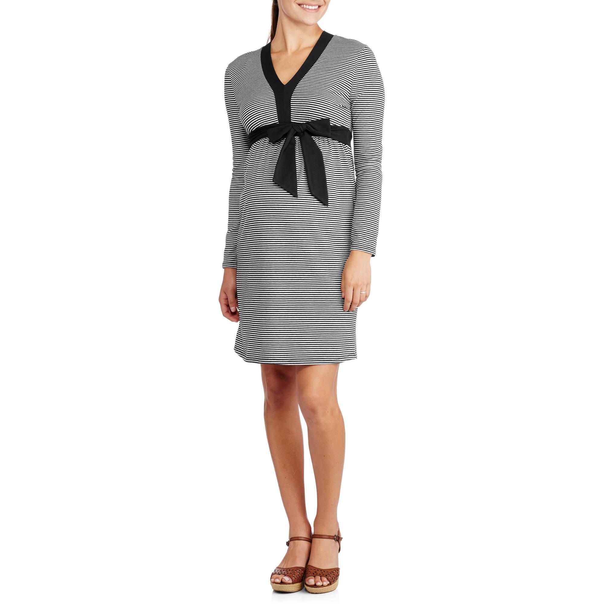 Maternity Long Sleeve Vneck Tie-Front Striped Dress