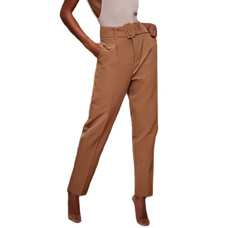 Women High Waist OL Work Formal Trousers Plain Cigaratte Long Pants With Belt