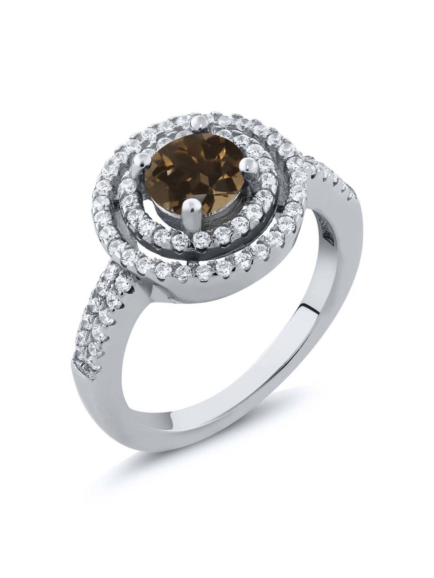 1.76 Ct Round Brown Smoky Quartz 925 Sterling Silver Ring