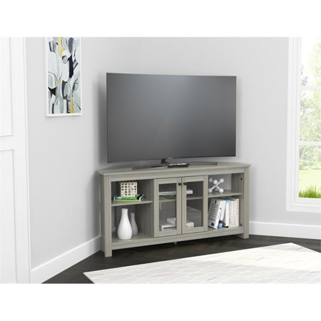 Inval Corner TV Stand with Glass Doors, Smoke Oak Maple Oak Tv Stand