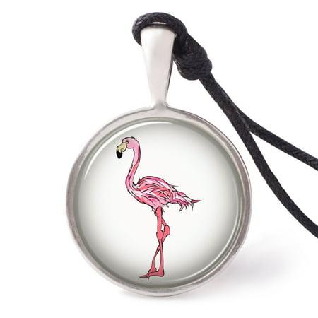 Vietguilds Flamingo Bird Necklace Pendants Pewter Silver