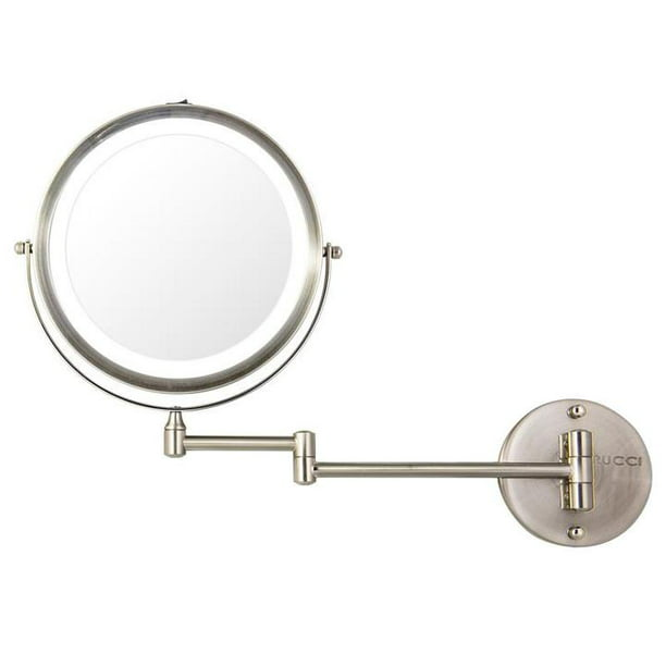 8 75 Wall Mounted Led Lighted Makeup Mirror 10x 1x Magnifying Vanity Mirror 360 Degree Swivel Satin Nickel Finish 18 5 Extended Arm Walmart Com Walmart Com