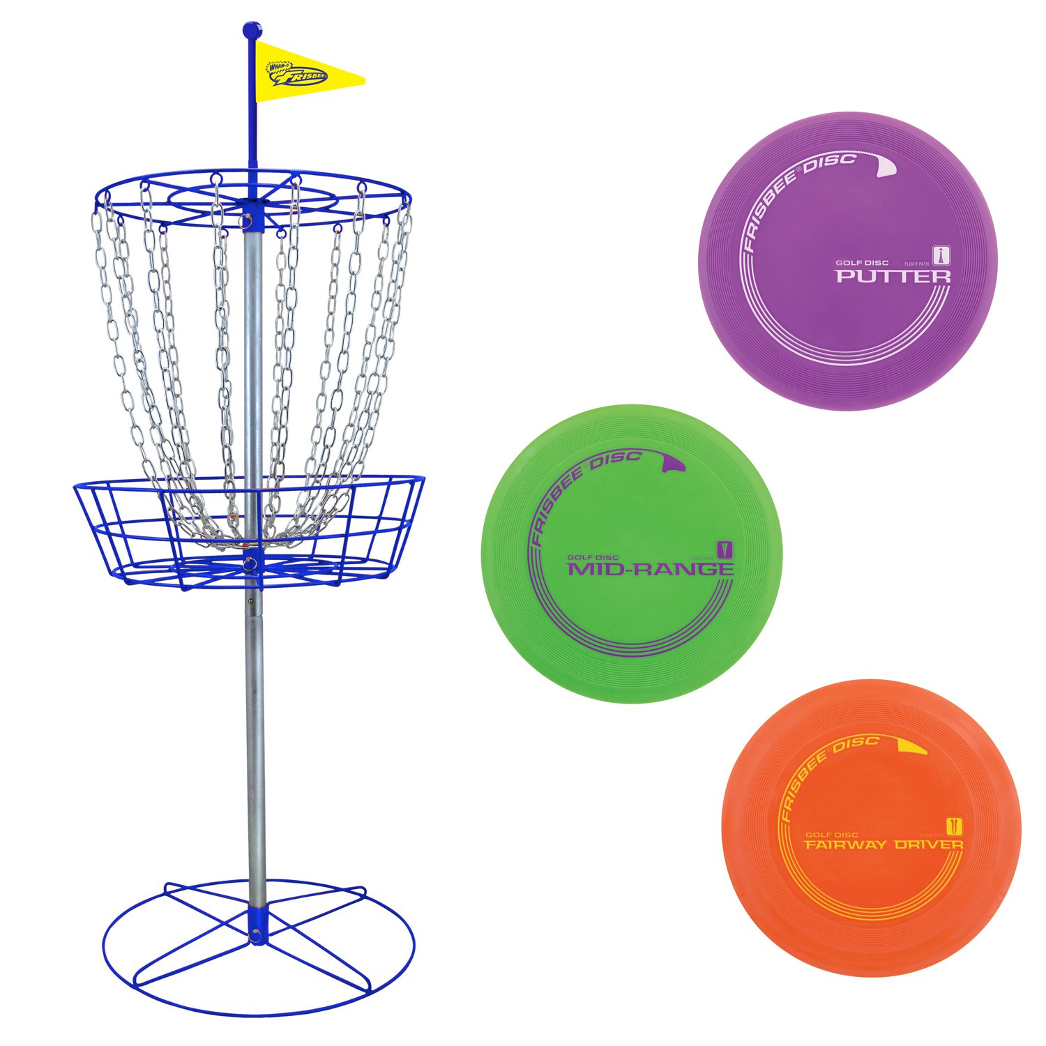 Wham-O PDGA Approved Official Frisbee Disc Golf Set with 3 Discs and Blue Target by Wham-O