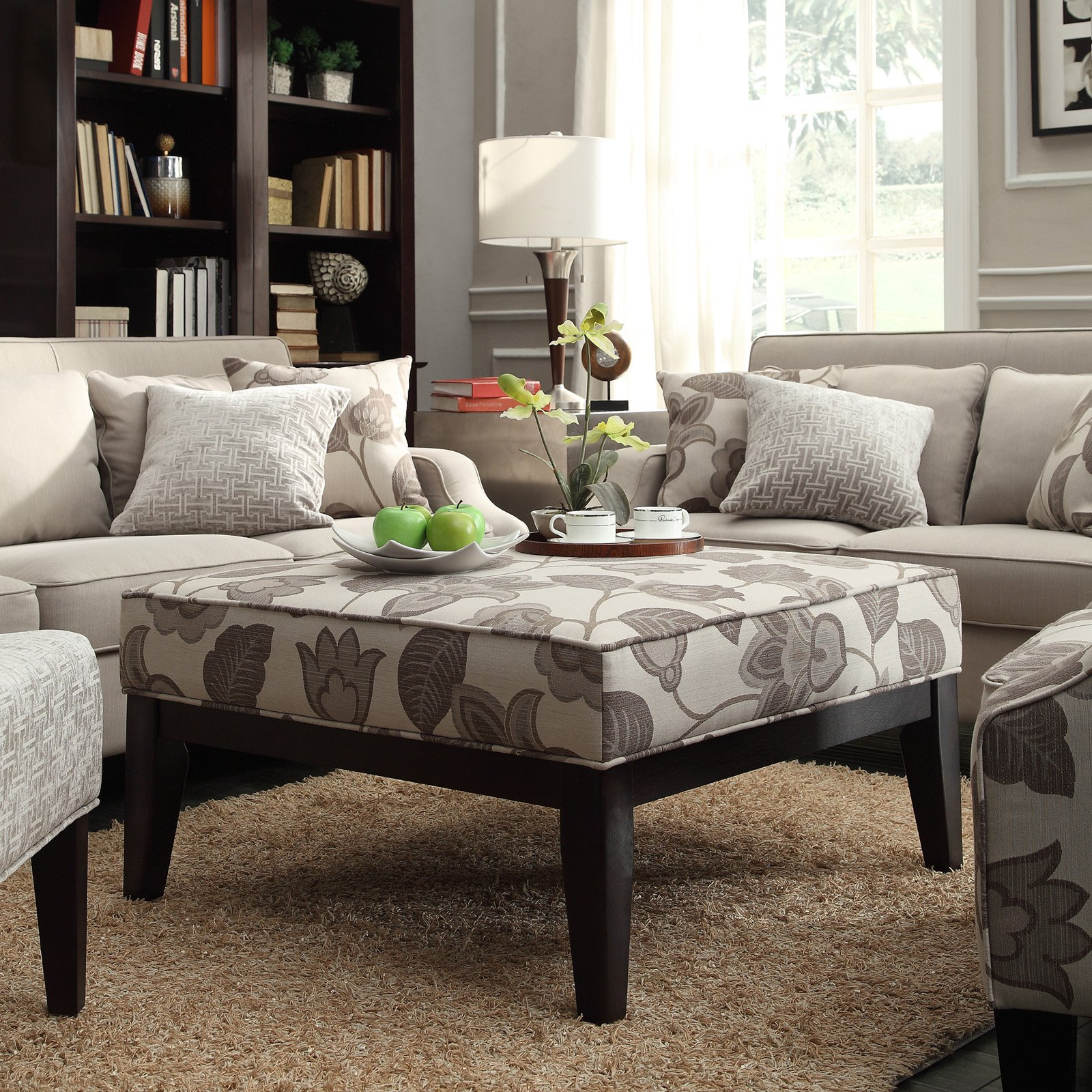 Inspire Q Classic Gray Flower with Leaves Square Ottoman