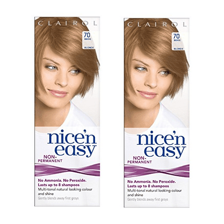 Clairol Nice N' Easy Hair Color #70, Beige Blonde (Pack of 2) Uk Loving Care + 3 Count Eyebrow Trimmer ()