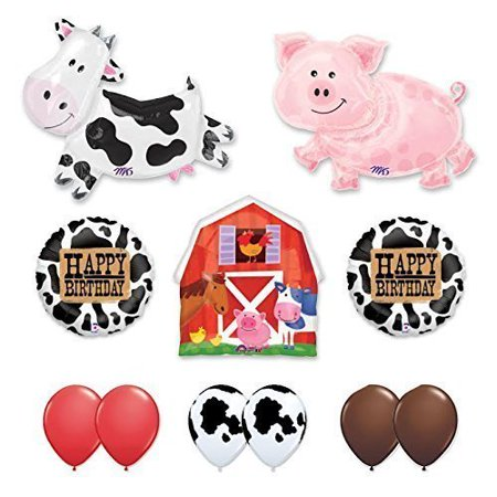 Barn Farm Animals Birthday Party Cow, Pig, Barn Balloons Decorations